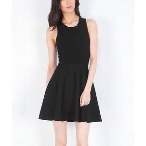 Parker Stretch Knit Flare Dress in Black/white